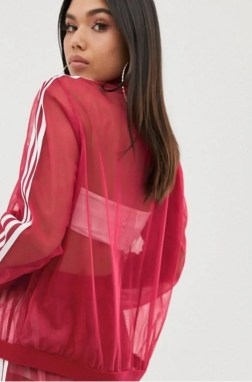 adidas Originals Sleek three stripe mesh tulle skirt in pink-06
