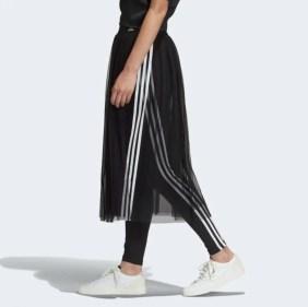 adidas Originals Sleek three stripe mesh tulle skirt in pink-15