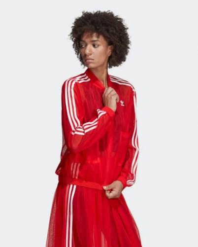 adidas Originals Sleek three stripe mesh tulle jacket