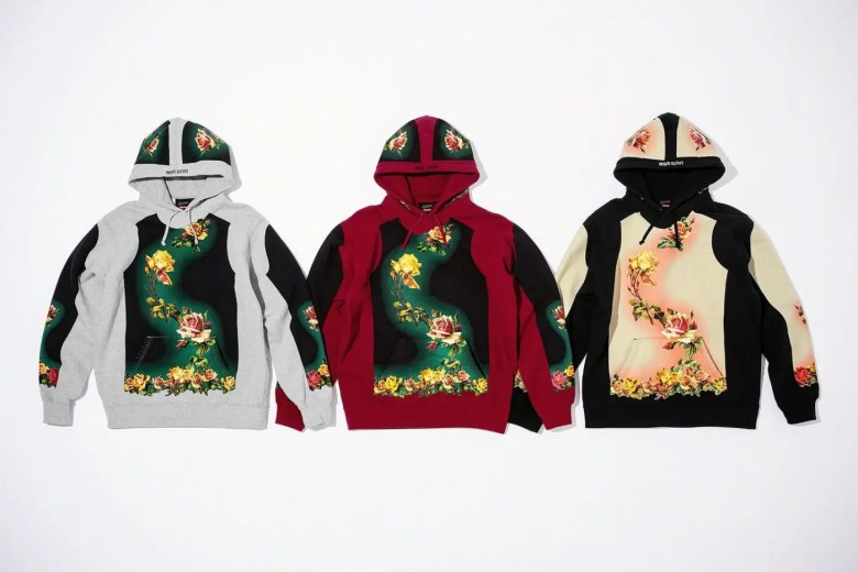 Supreme Week7 Jean Paul Gaultier Floral Print Hooded Sweatshirt