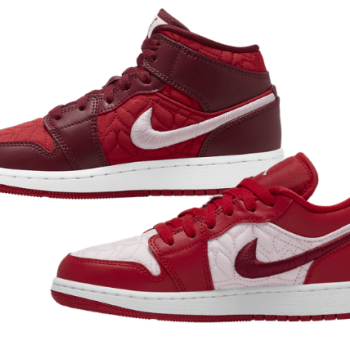 Nike Air Jordan 1 GS Mid Low Red Pink Quilt-01