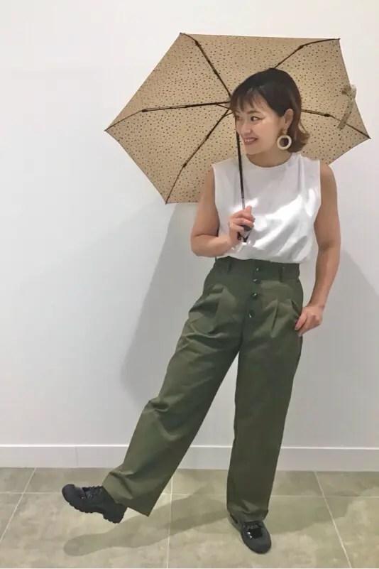 GUのレインスニーカーのスタッフコーデ1(GU_by Uniqlo_rain_sneakers_black_staff_style)