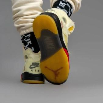 """オフホワイト × ナイキ エア ジョーダン 5 """"セイル"""" Off-White × Nike Air Jordan 5 """"Sail"""" DH8565-100 on-feet sole"""