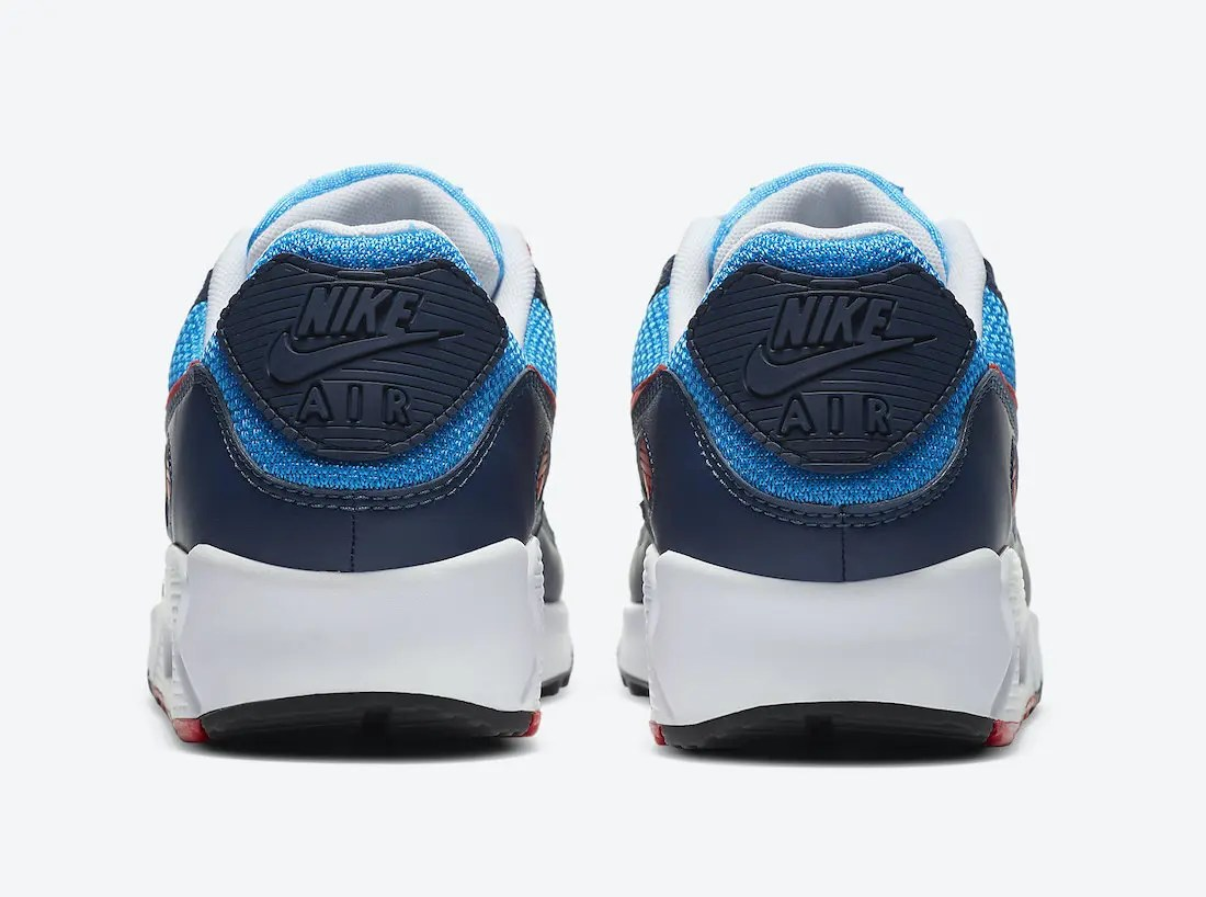 ナイキ シューメーカー パック Nike-Air-Max-90-Photo-Blue-University-Red-CT1687-400-heel