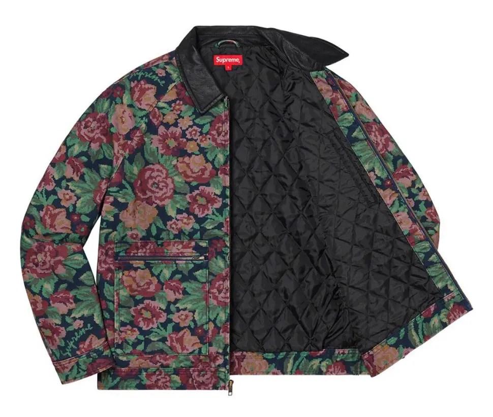 Supreme 2020fw week9 Leather Collar Work Jacket シュプリーム 2020年 秋冬 新作 ジャケット flower