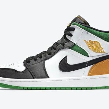 """ナイキ エア ジョーダン 1 ミッド SE """"オークランド""""-Nike-Air-Jordan-1-Mid-SE-White-Black-Green-Yellow-852542-101-side"""