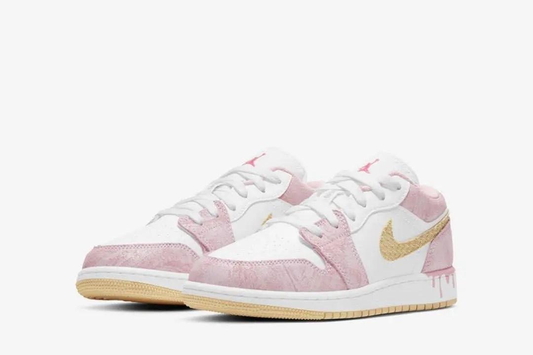"""ナイキ エア ジョーダン 1 ロー GS """"ペイントドリップ"""" Nike-Air-Jordan-1-Low-GS-Paint-Drip-CW7104-601-pair"""