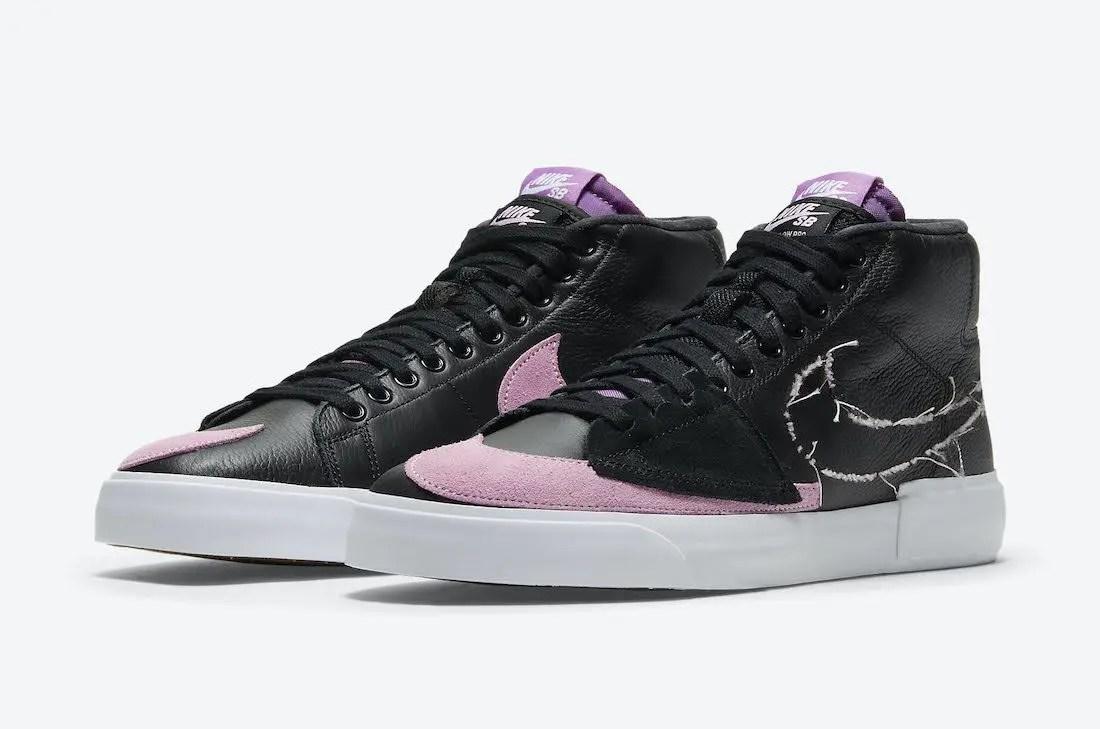 """ナイキ SB ブレーザー ミッド エッジ """"パープルネブラ"""" Nike-SB-Blazer-Mid-Edge-Black-Purple-Nebula-Pink-Rise-DA2189-002-pair"""