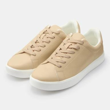 GU ジーユー ライト ソール レザー タッチ スニーカー ベージュ Light-Sole-Leather-Touch-Sneaker-E-Off-beige
