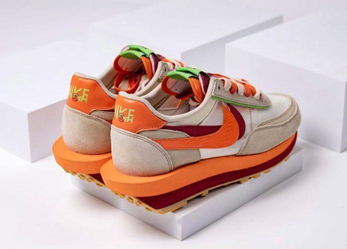 CLOT × SACAI × NIKE LDWAFFLE クロット × サカイ × ナイキ LDワッフル Net/Orange Blaze-Deep Red-Green Bean DH1347-100 detail