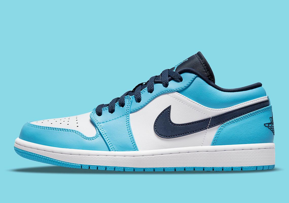 """ナイキ エア ジョーダン 1 ロー """"UNC"""" Nike-Air-Jordan-1-Low-UNC-553558-144-side"""