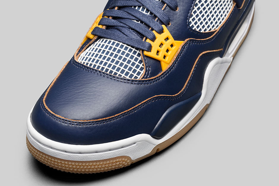 Air Jordan 4  Navy Gold Dunk From Above
