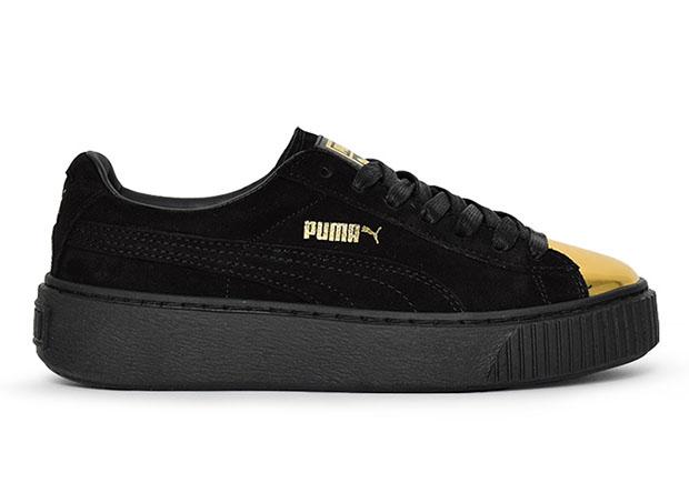 PUMA Suede Platform Gold Toe Pack Sneaker Bar Detroit