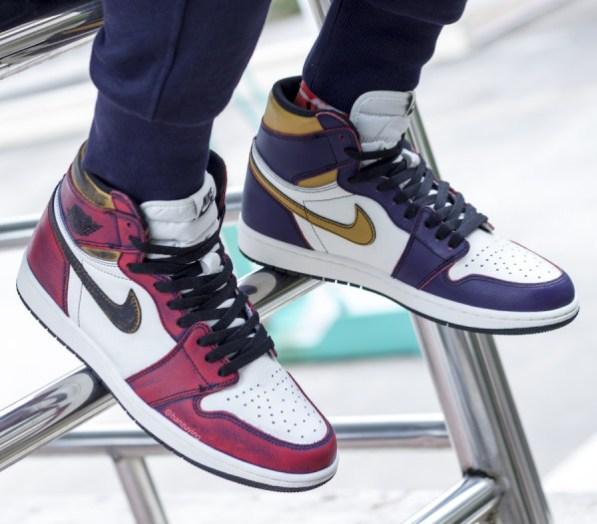 the latest 1cdcd cecc5 Nike-SB-Air-Jordan-1-Chicago-Lakers-CD6578-. Nike SB x Air Jordan 1 Retro  High OG Color  Court Purple Sail-University Gold-Black