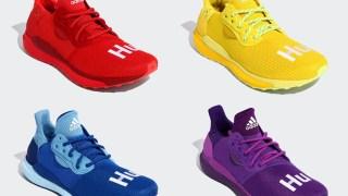 """【8/31】ファレル x アディダス ソーラー HU / adidas Solar Hu Glide """"Rainbow"""" Collection EF2381, EF2379, EF2377, EG7770"""