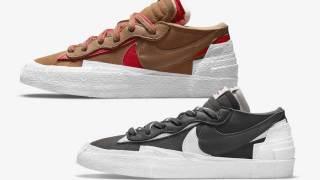 """【7/29, 7/31】サカイ x ナイキ ブレーザー ロー """"アイアングレー & ブリティッシュタン""""Sacai x Nike Blazer Low DD1877-002, DD1877-200"""