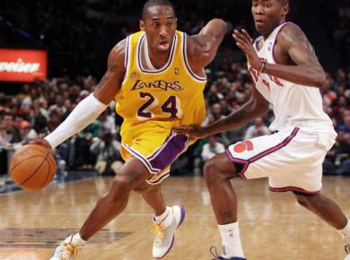 "Kobe Bryant wearing Kobe 3 ""China"" vs Knicks. December 23, 2007. Youngest to reach 20,000 Points"