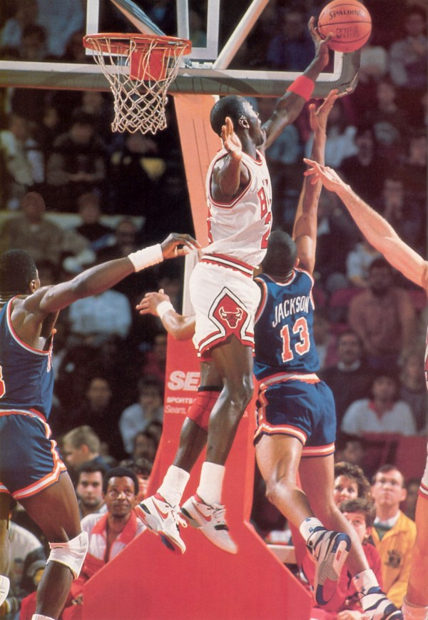 Jordan wears the Nike Air Alpha Force January 30, 1988 and drops 28 vs. the Knicks. -- Photo via COMPLEX