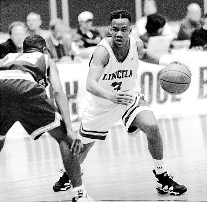 Stephon Marbury wearing Nike Air Max Uptempo 2 - Lincoln Railsplitters (Photo Cred: Kevin Higley)