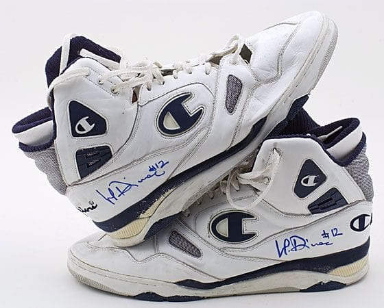 Vlade Divac's Champion Sneakers from 1989. Photo via Legendary Auctions