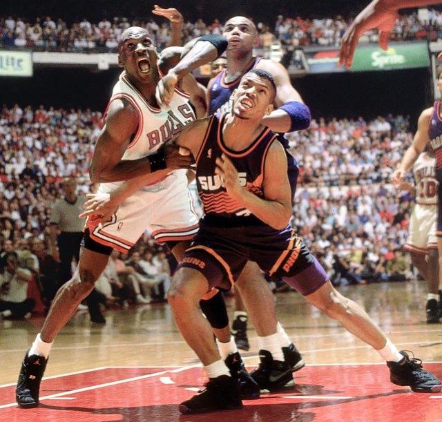 Kevin Johnson in Converse Run 'N Slam Michael Jordan in Air Jordan 8
