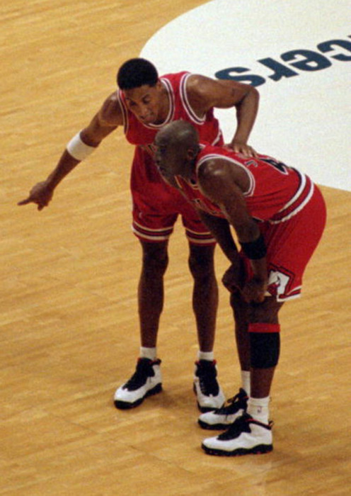 "Michael Jordan and Scottie Pippen wearing Air Jordan 10 ""Chicago"""