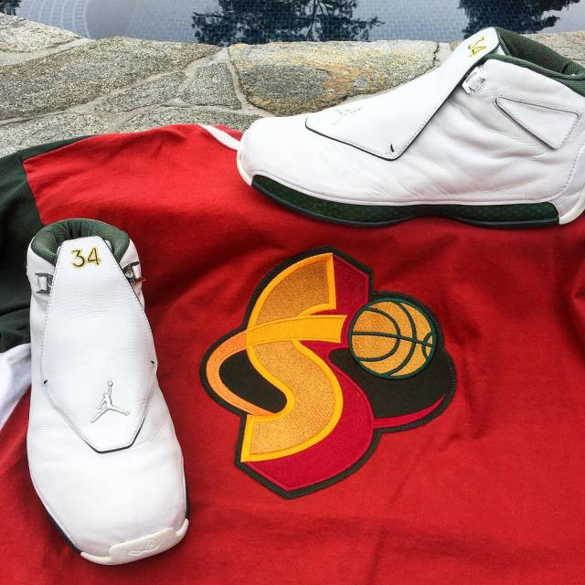 Ray Allen Jordan PEs: Air Jordan 18 Seattle Sonics Player Exclusive