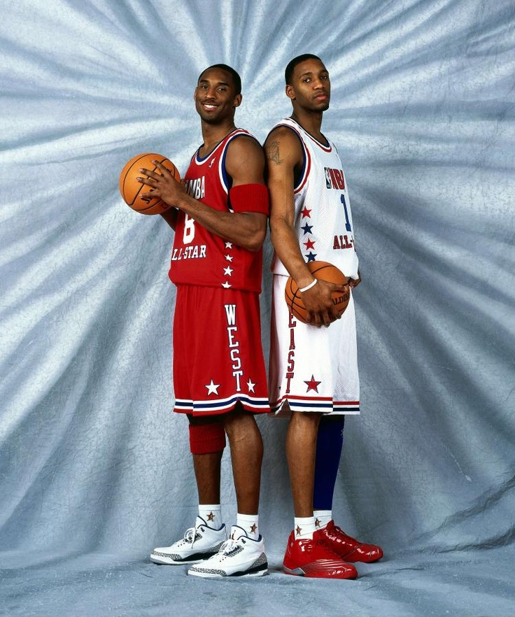 Kobe Bryant in the Jordan 3 True Blue and Tracy McGrady Wearing the adidas T-Mac 3 in the NBA All Star Game 2003