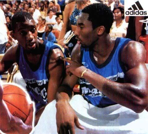 Tracy McGrady and Kobe Bryant at the adidas ABCD Basketball Camp