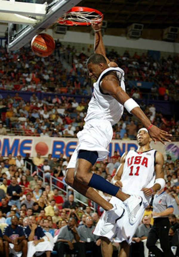 """Tracy McGrady wearing the adidas T-Mac 2 """"USA"""" for the FIBA World Championships in 2003"""