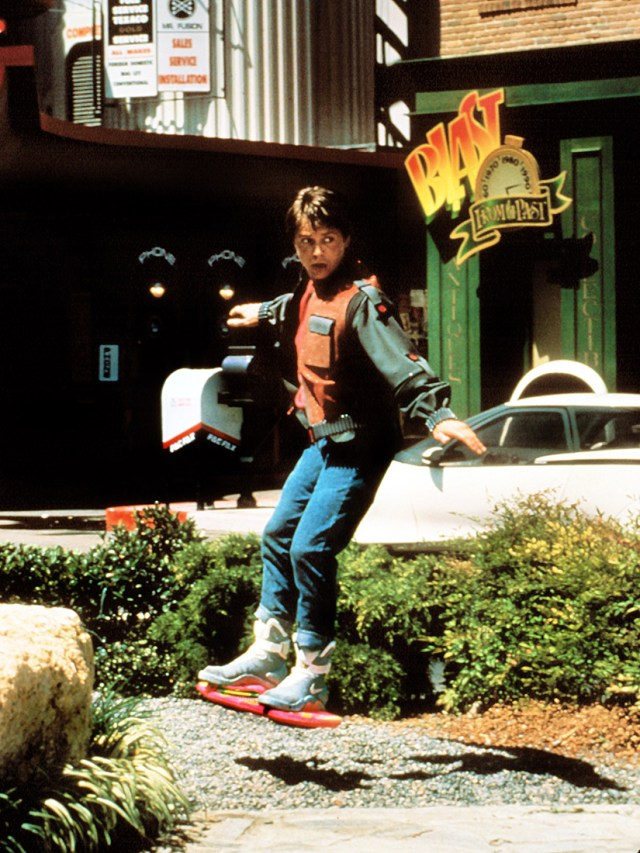 Marty McFly in Nike Mag on Hoverboard