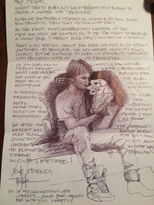 Tinker Hatfield Note to Michael J. Fox