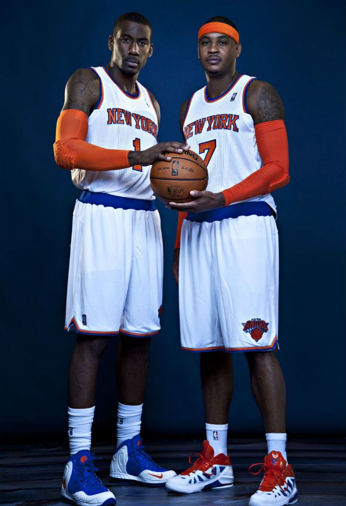 Amar'e Stoudemire in Nike Hyperposite P.E. and Carmelo Anthony in Jordan Melo M8 Advance