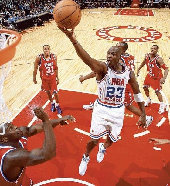 Michael Jordan's last All Star Game wearing the Air Jordan 18
