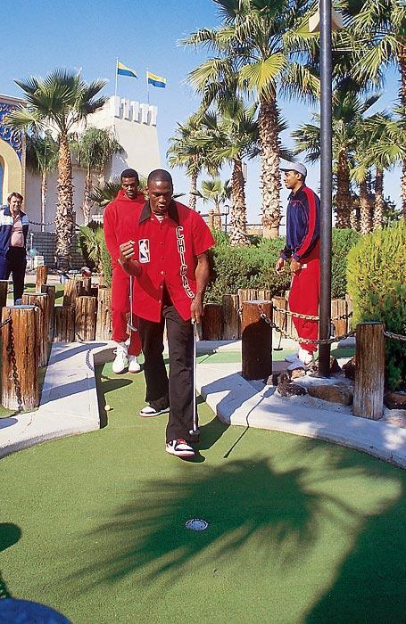 Michael Jordan playing mini golf