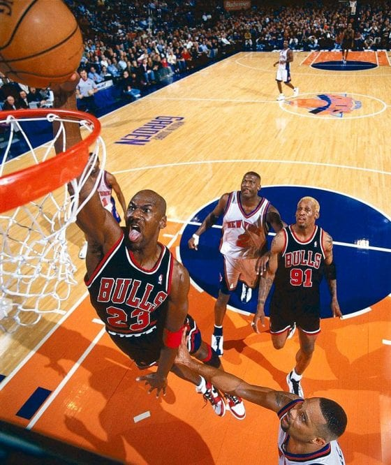 Michael Jordan Photos Final Game at Madison Square Garden NYC Wearing Air Jordan 1