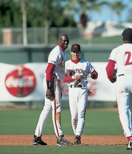 Michael Jordan and Nomar Garciaparra playing baseball with each other in the Arizona Fall League