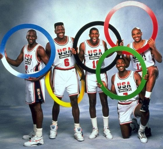Newsweek cover photo shoot featuring Michael Jordan, Patrick Ewing, Magic Johnson, Karl Malone and Charles Barkley