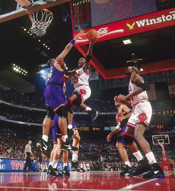 Michael Jordan and the Bulls against the Phoenix Suns in the NBA Finals 1993