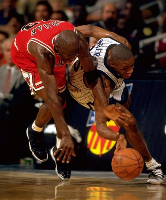 Michael Jordan wears the Space Jam Jordan 11s for the first time