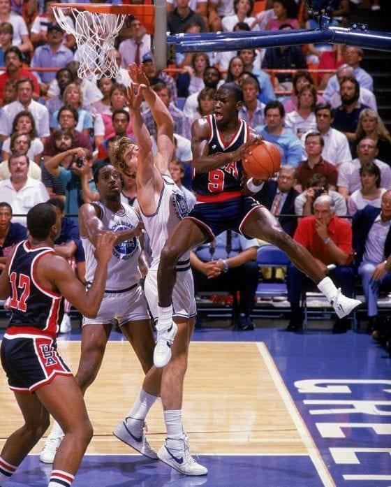 Michael Jordan wearing Converse as a member of the USA Basketball Team