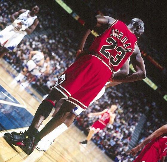 """Michael Jordan's 2nd retirement final game against the Utah Jazz wearing the Air Jordan 14 """"Last Shot"""""""