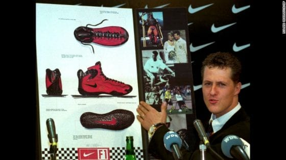 Michael Schumacher unveils his Nike Racing Shoe in 1996