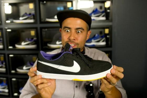 """Eric Koston holding the Nike SB Eric Koston """"Kobe"""""""