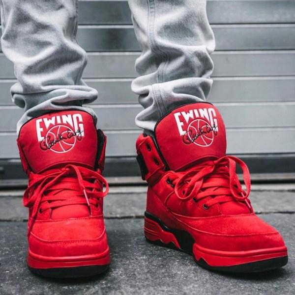 Ewing 33 Hi Red Suede Sneakers