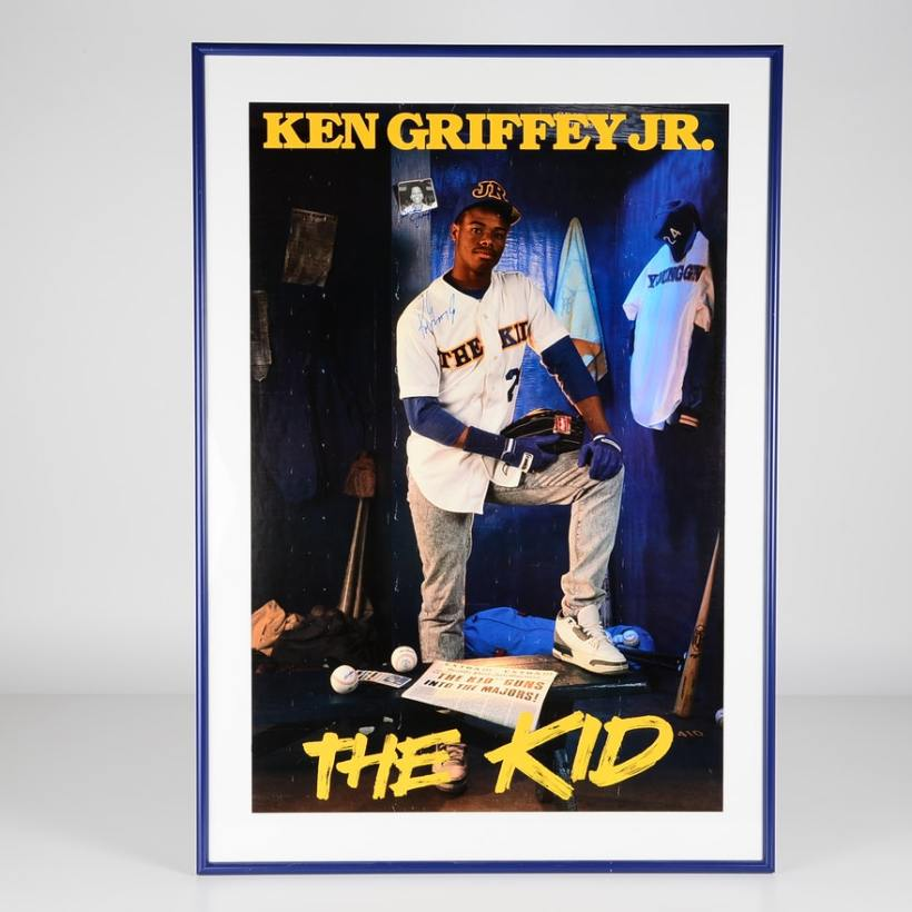 Ken Griffey Jr wearing Air Jordans (Jordan 3 True Blue)