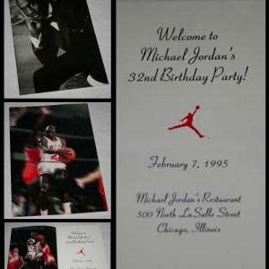Michael Jordan's 32nd birthday party invitation.