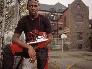 Michael Jordan with the Air Jordan 1 Black Toe 1985