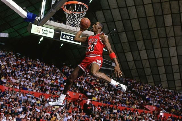 Michael Jordan in the Air Jordan 2 at the Slam Dunk Contest