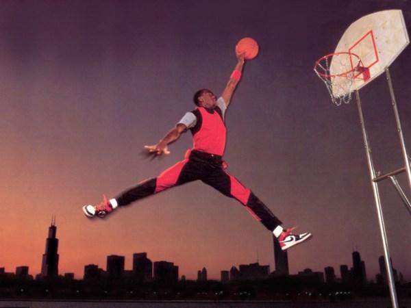 The legendary Jumpman Logo, as performed by Michael Jordan in 1985
